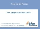 Trang trại gió Phú Lạc  Kinh nghiệm từ tỉnh Bình Thuận