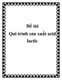 Đề tài Qui trình sản xuất acid lactic
