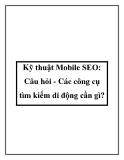 Kỹ thuật Mobile SEO: Câu hỏi - Các công cụ tìm kiếm di động cần gì?