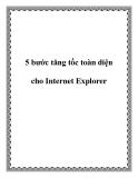5 bước tăng tốc toàn diện cho Internet Explorer