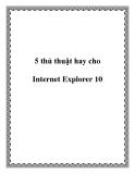 5 thủ thuật hay cho Internet Explorer 10
