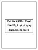 Thủ thuật Office Excel 2010