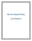 Bịt kín những lỗ hổng của Windows