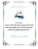 """Đề án môn học - Đề tài: """"Phát triển dịch vụ Logistics đối với loại hình doanh nghiệp 3PL ở Việt Nam giai đoạn 2007-2012 và định hướng đến 2015""""."""