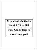 Xem nhanh các tập tin Word, PDF và PPT trong Google Docs từ menu chuột phải