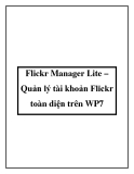 Flickr Manager Lite – Quản lý tài khoản Flickr toàn diện trên WP7