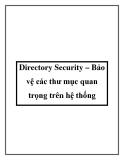 Directory Security – Bảo vệ các thư mục quan trọng trên hệ thống