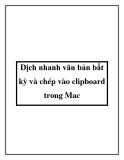 Dịch nhanh văn bản bất kỳ và chép vào clipboard trong Mac