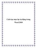Cách tạo mục lục tự động trong Word 2010