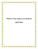 Windows Vista: Quản lý các tài khoản khách hàng