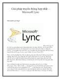 Giải pháp truyền thông hợp nhất – Microsoft Lync