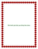 Bài thuốc giải độc gan bằng thảo dược