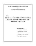 Tiểu luận:KHẢO SÁT CÁC YẾU TỐ ẢNH HƯỞNG ĐẾN GIÁ BÁN XE Ô TÔ TRÊN THỊ TRƯỜNG VIỆT NAM