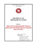 Bài tiểu luận Kinh tế lượng: Một số yếu tố ảnh hưởng đến Tổng sản phẩm quốc nội (GDP) Việt Nam trong giai đoạn 1995 - 2011