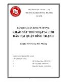Bài tiểu luận kinh tế lượng: Khảo sát thu nhập người dân tại quận Bình Thạnh
