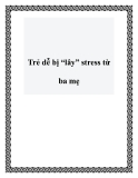 "Trẻ dễ bị ""lây"" stress từ ba mẹ"