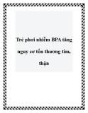 Trẻ phơi nhiễm BPA tăng nguy cơ tổn thương tim, thận