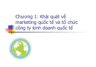Khái quát về marketing quốc tế và tổ chức công ty kinh doanh quốc tế