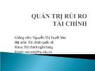 Bài giảng Quản trị rủi ro tài chính - GV.Nguyễn Thị Tuyết Mai