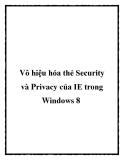 Vô hiệu hóa thẻ Security và Privacy của IE trong Windows 8