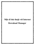 Một số thủ thuật với Internet Download Manager