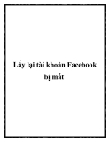 Lấy lại tài khoản Facebook bị mất
