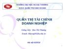 Quản trị tài chính doanh nghiệp - Đào Thị Thương