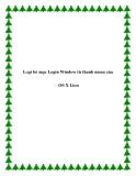 Loại bỏ mục Login Window từ thanh menu của OS X Lion
