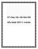 63 công việc cần làm khi tiến hành SEO 1 website