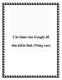 Các hàm của Google để tìm kiếm link (Nâng cao)