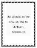 Bạn xem tôi đã Seo như thế nào cho Diễn đàn Chợ Ban Mê (chobanme.com)