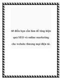 60 điều bạn cần làm để tăng hiệu quả SEO và online marketing cho website thương mại điện tử.