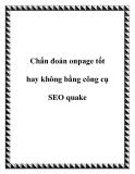 Chẩn đoán onpage tốt hay không bằng công cụ SEO quake