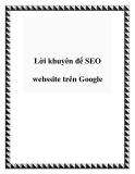 Lời khuyên để SEO webssite trên Google