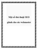 Một số thủ thuật SEO giành cho các webmaster