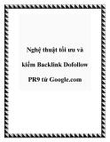 Nghệ thuật tối ưu và kiếm Backlink Dofollow PR9 từ Google.com