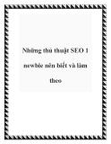 Những thủ thuật SEO 1 newbie nên biết và làm theo