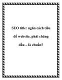 SEO title: ngăn cách tiêu đề website, phải chăng dấu – là chuẩn?