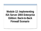 Module 12: Implementing ISA Server 2004 Enterprise Edition: Back-to-Back Firewall Scenario