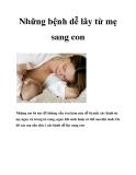 Những bệnh dễ lây từ mẹ sang con