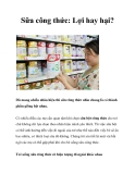 Sữa công thức: Lợi hay hại?
