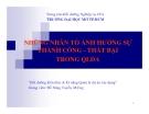 NHỮNG NHÂN TỐ ẢNH HƯỞNG SỰ THÀNH CÔNG - THẤT BẠI TRONG QLDA