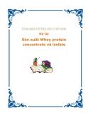 Luận văn Công nghệ chế biến sữa và đồ uống: Sản xuất Whey protein concentrate và isolate