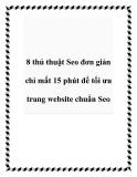 8 thủ thuật Seo đơn giản chỉ mất 15 phút để tối ưu trang website chuẩn Seo