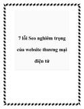 7 lỗi Seo nghiêm trọng của website thương mại điện tử
