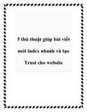 5 thủ thuật giúp bài viết mới index nhanh và tạo Trust cho website
