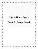 Hiển thị Page Google Plus trên Google Search