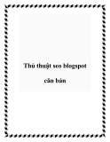 Thủ thuật seo blogspot căn bản
