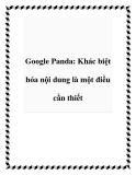 Google Panda: Khác biệt hóa nội dung là một điều cần thiết