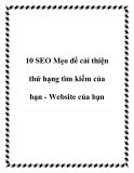 10 SEO Mẹo để cải thiện thứ hạng tìm kiếm của bạn - Website của bạn